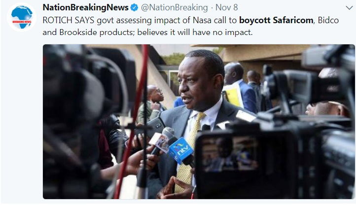 CS Treasury assuring Kenyans that NASA boycott will not have any effect on the economy.