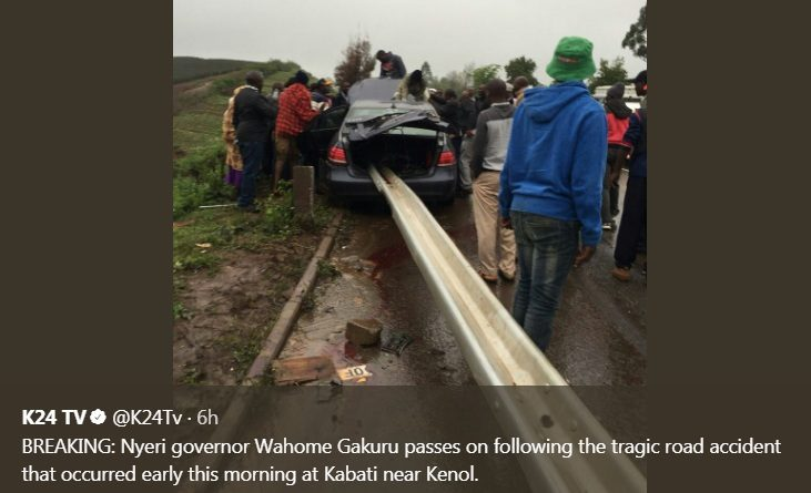 The Nyeri Governor was involved in a fatal road accident in Murang'a en route to Nairobi.