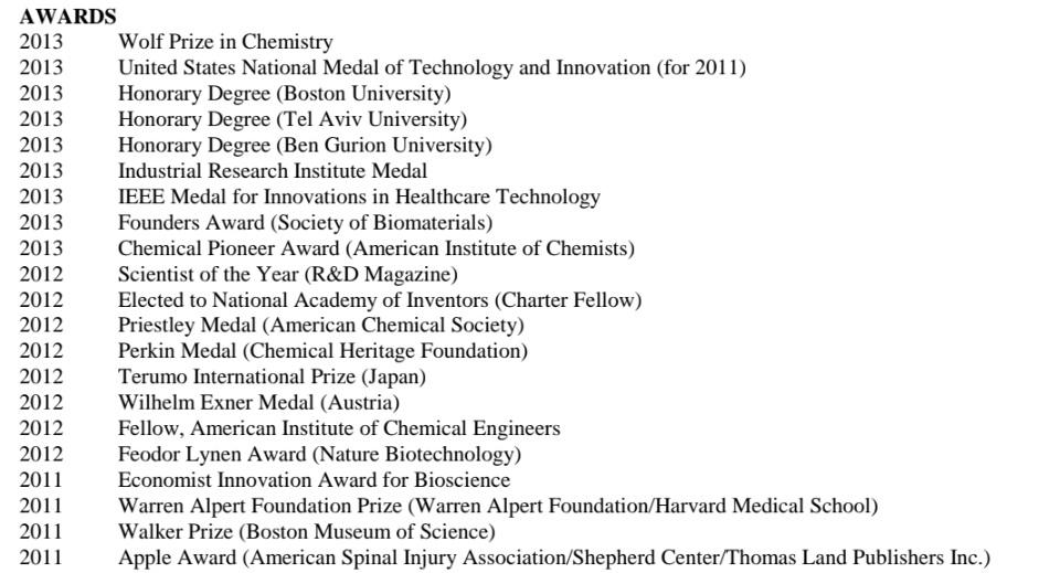 Robert Langer awards