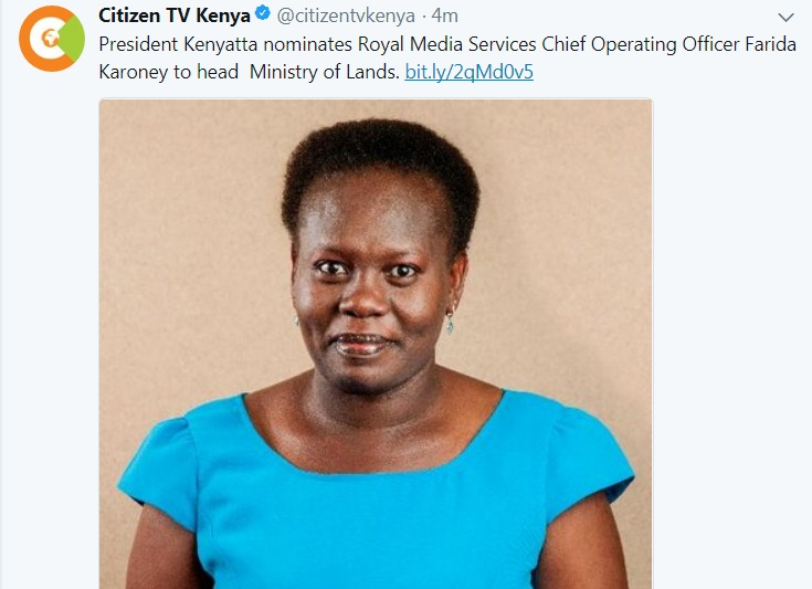 Farida Karoney to head Ministry of Lands