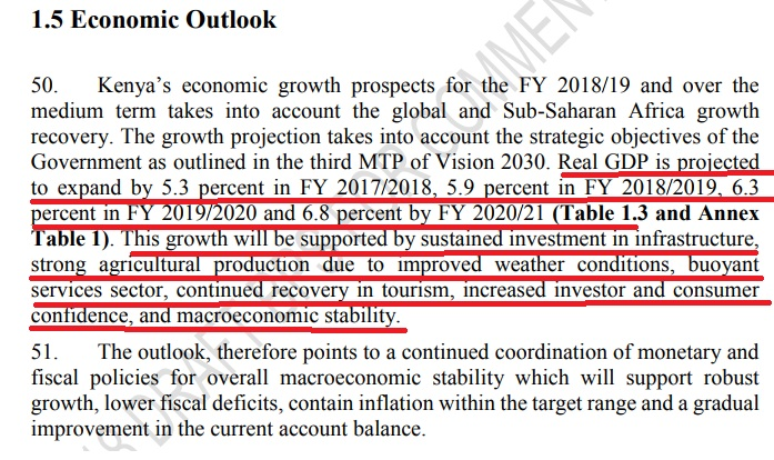 Economic out look. Source: Budget Policy Statement 2018