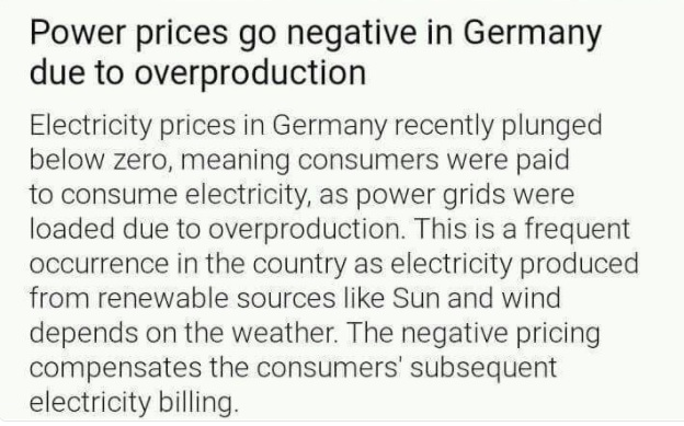 Image: Negative electricity costs. In Germany due to excess production now citizens have to be paid as an incentive for them to consume electricity.