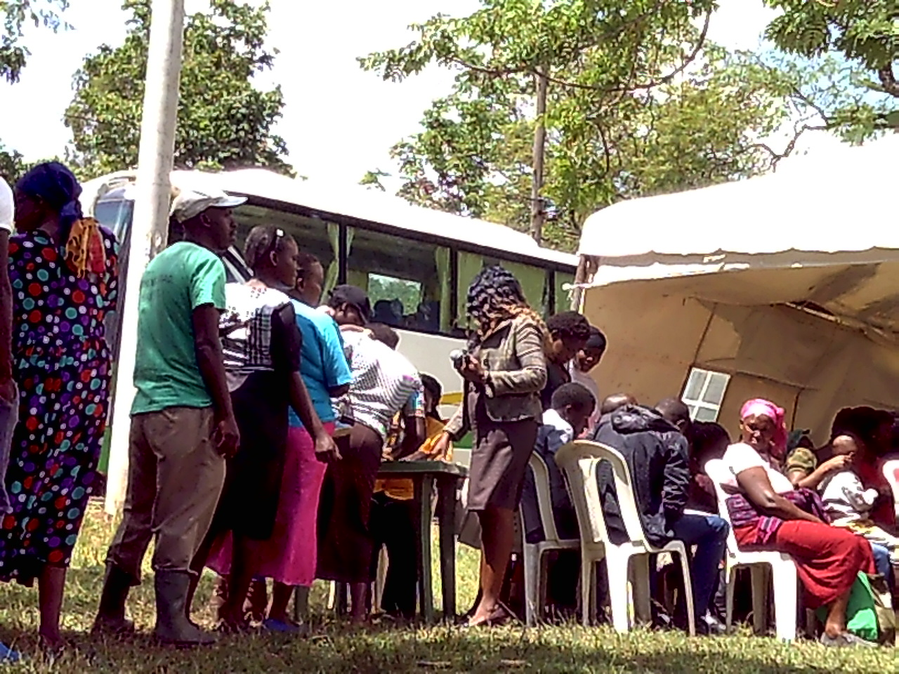 Residents lining up to register before embarking in the debates on development projects