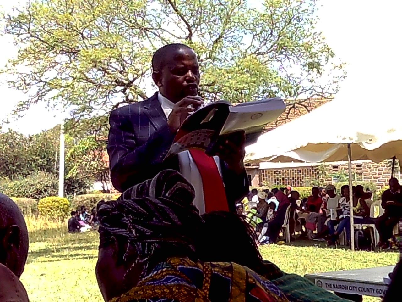 Nairobi County Official presiding over the public participation forum at Joseph Kangethe Woodley