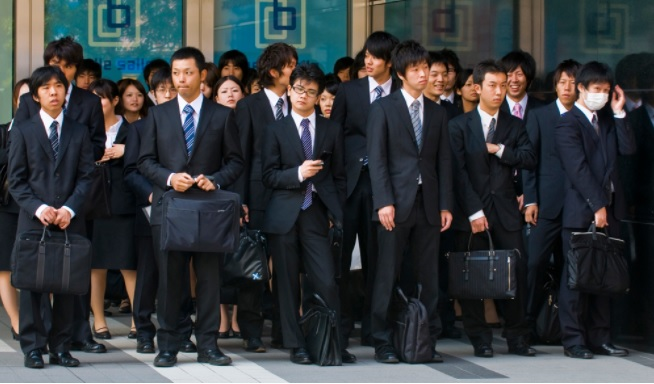 Photo: A group of Japanese workers