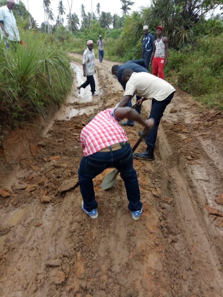 Making the road passable in Msambweni..