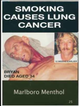 Tobacco smoking is the leading cause of Cancer. New strategies to stop smoking includes printing ghastly graphic images on cigarette packages.