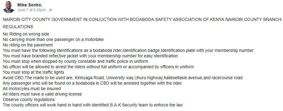 Boda boda regulations