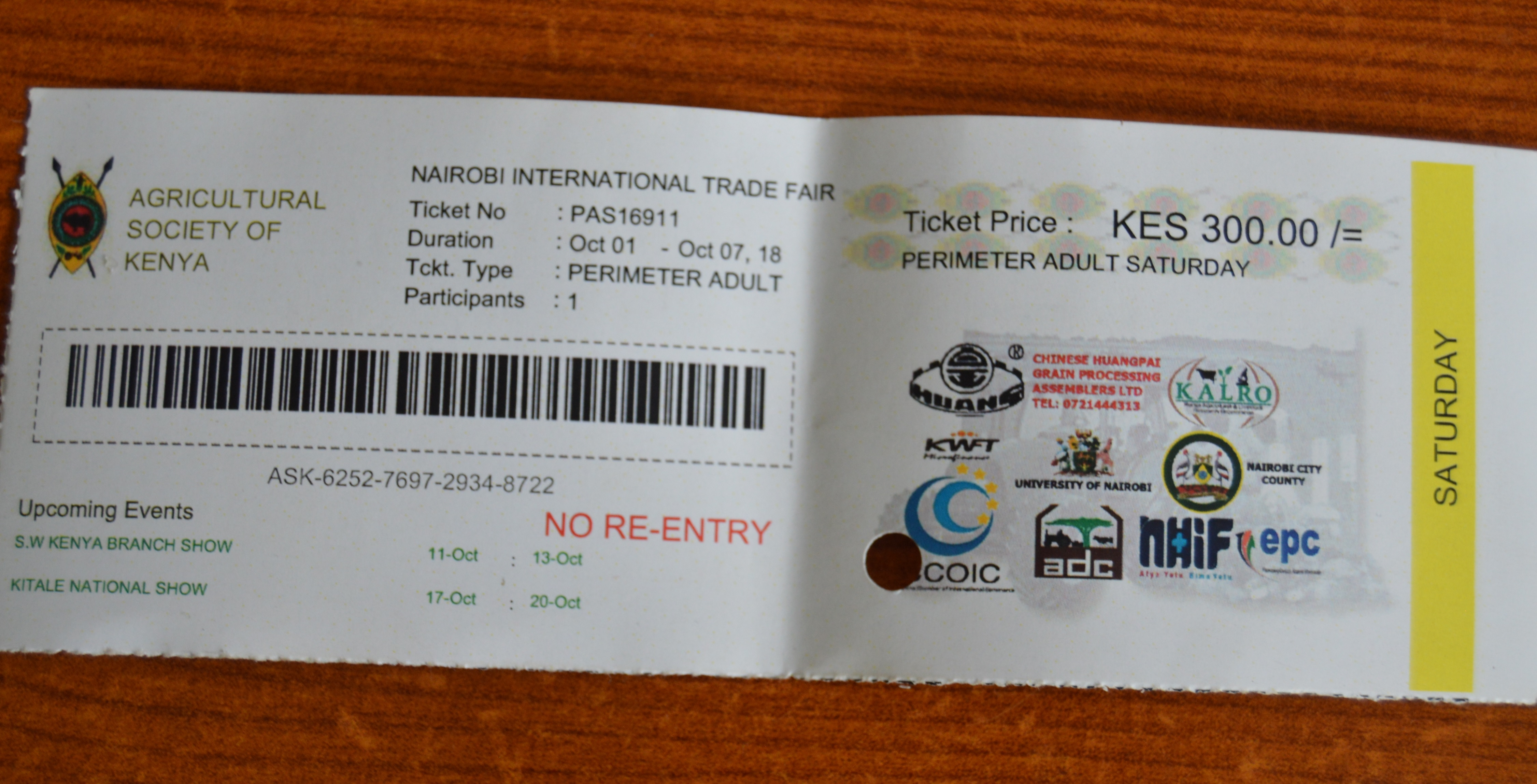 Ticket required to gain entry into the trade fair.