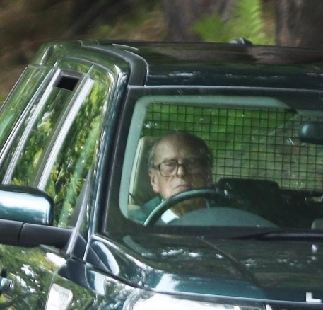 Prince Philip driving his Range Rover