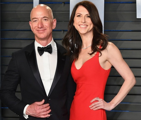 Jeff Bezos and his wife