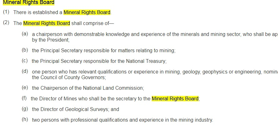 Membership of Mineral Rights Board