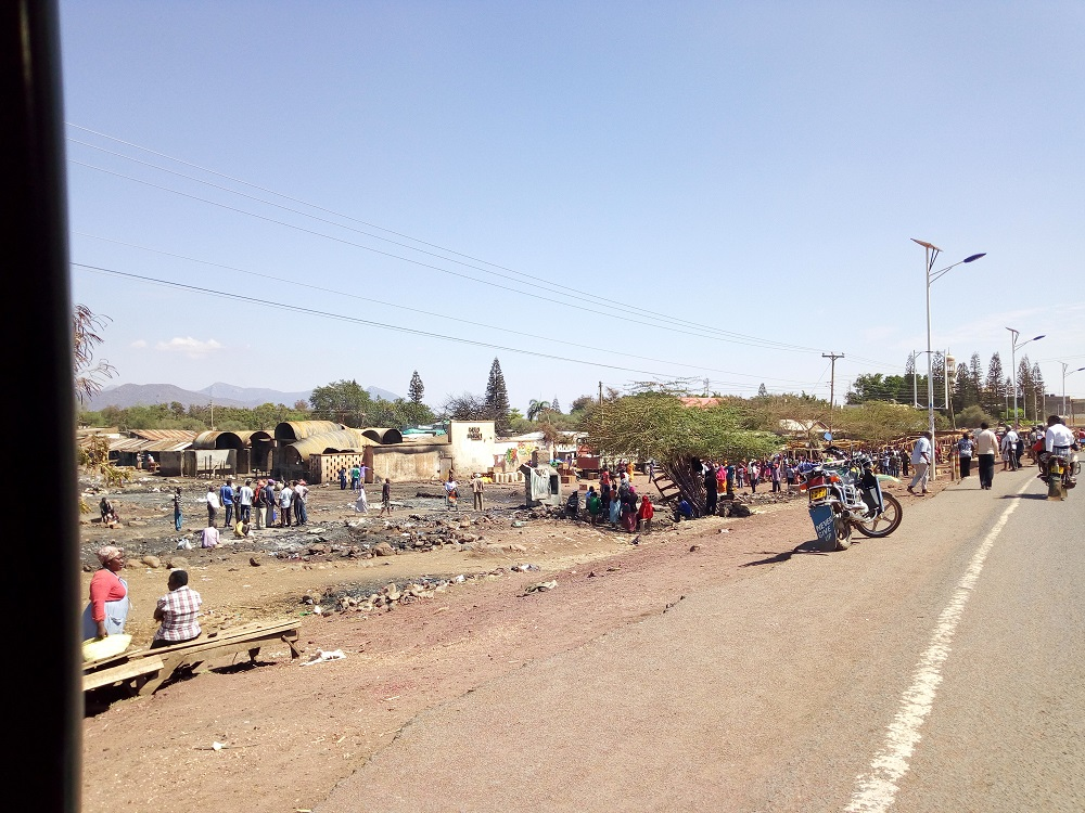 Isiolo Market Fire from the highway