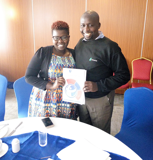 Mercy Obonyo and Geoffrey Kerosi during the TI Strategic Plan launch