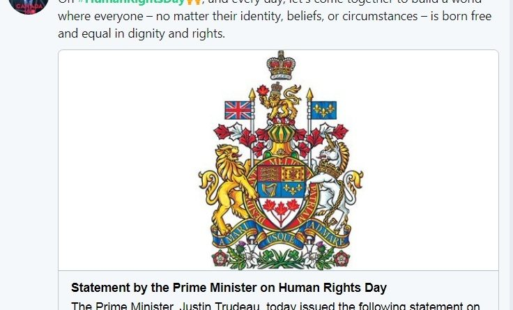 Prime Minister of Canada on Human Rights Day
