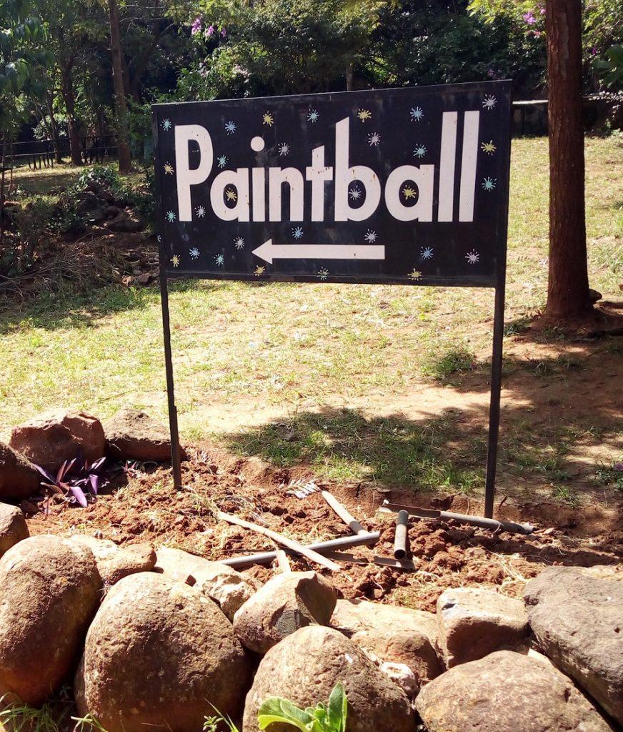 Photo: Signpost on Paintball sports.
