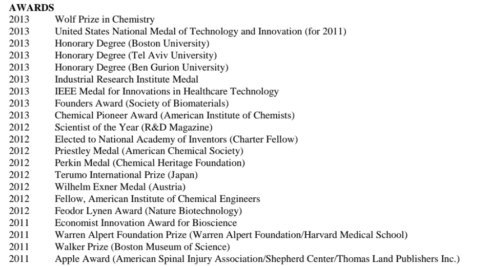 Robert Langer awards