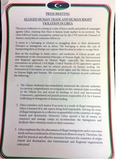 Libya government statement on alleged slavery in Libya