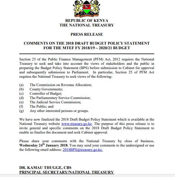 """""""The Big Four"""" is the central theme of Kenya's Budget Policy Statement 2018"""
