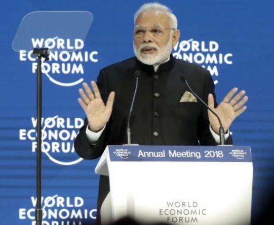Photo: India's Prime Minister Narendra Modi addressing the crowd at World Economic Form in Davos