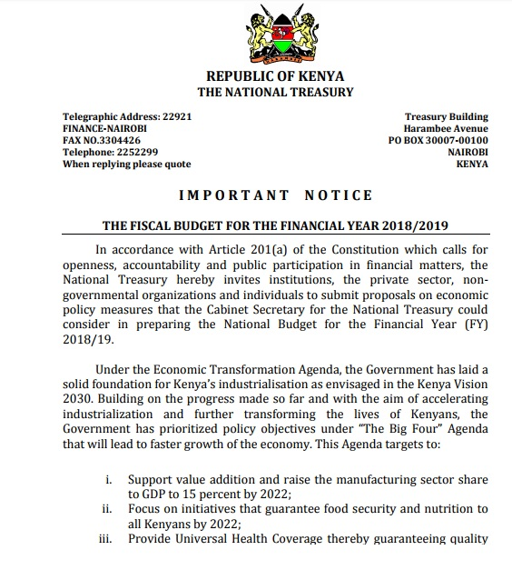 The Notice from Treasury is Out, now budget formulation has started