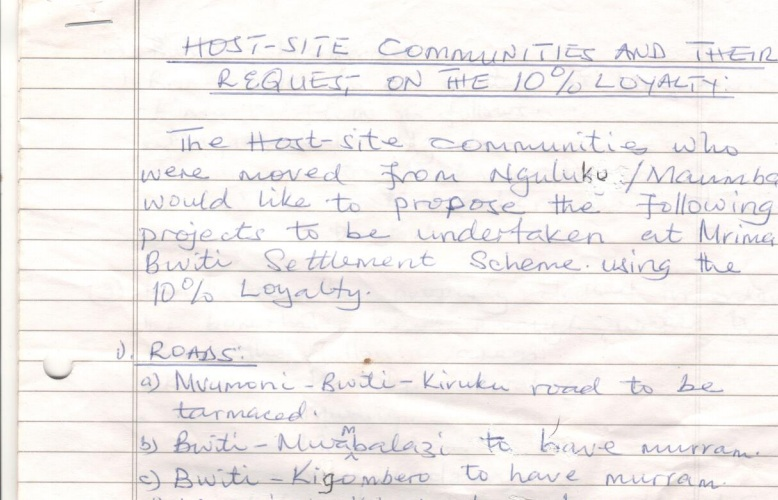 Residents of Bwiti in Kwale County Proposals on Use of 10% Mining Royalty