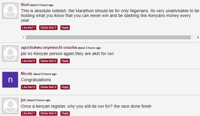 More reaction on Kenyans participating on lagos marathons