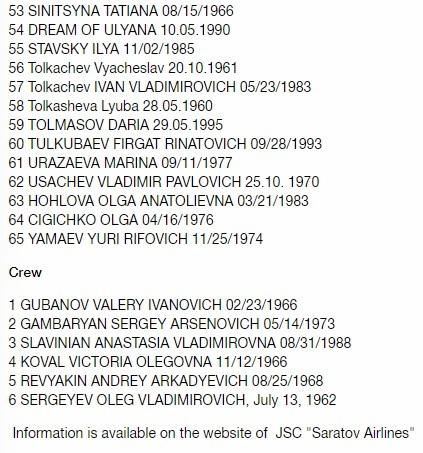 list of passengers on Russian Plane crash