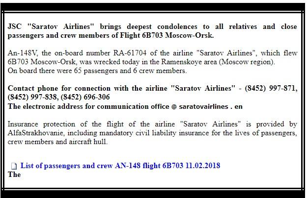 Moscow plane crash Kills 71 Passengers on Board