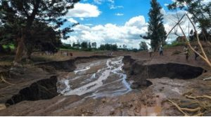 Photo: The fissure left behind by the bursting of Patel dam in Nakuru County.