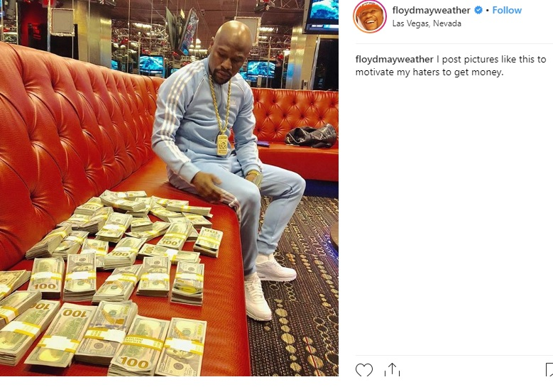 Floyd Mayweather Displaying the fruits of his success.