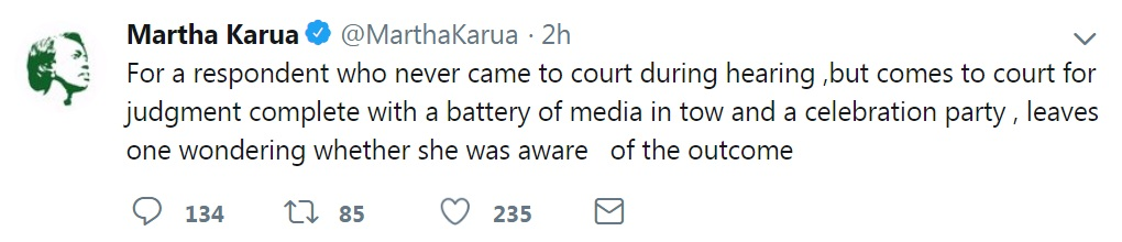 Image: Marta Karua alleged that the ruling was predetermined.