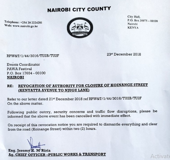 Pawa254 received a letter from Nairobi County government revoking an approval that they had been given earlier to go ahead with their festival.