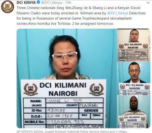 DCI Kenya arrests 3 Chinese and 1 Kenyan over Game Trophy