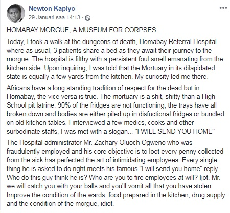 Post about Homa Bay Referral Hospital mismanagement