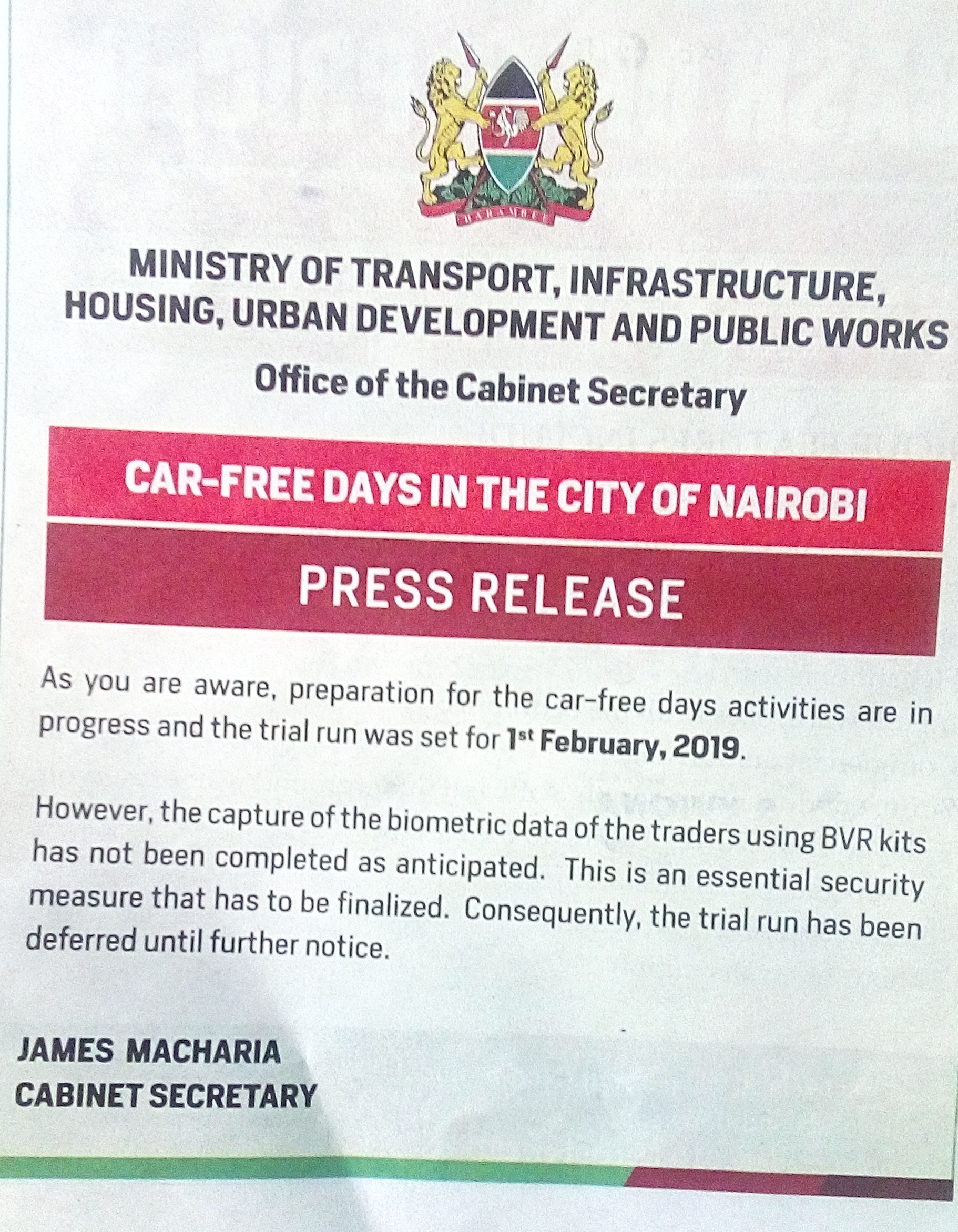 Implementation of car-free days in Nairobi City deferred until further notice