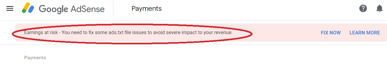"How to fix ""adsense earning at risk"" ads.txt"