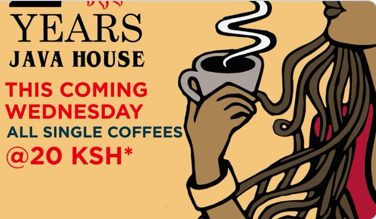 Nairobi Java House sold a cup of coffee for 20 bob today