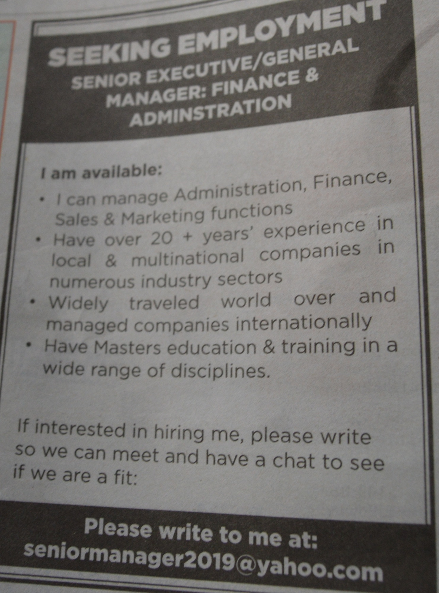 Kenyan advertises on local daily in search for employment