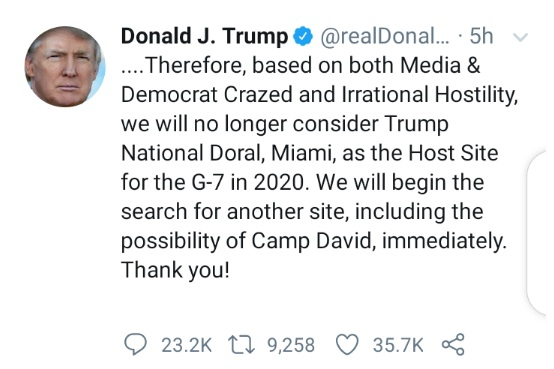 Donald Trump explains why Trump National Doral in Miami will not host G-7 in 2020