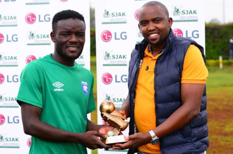 AFC Leopards striker Mark Makwatta is the SJAK player of the month