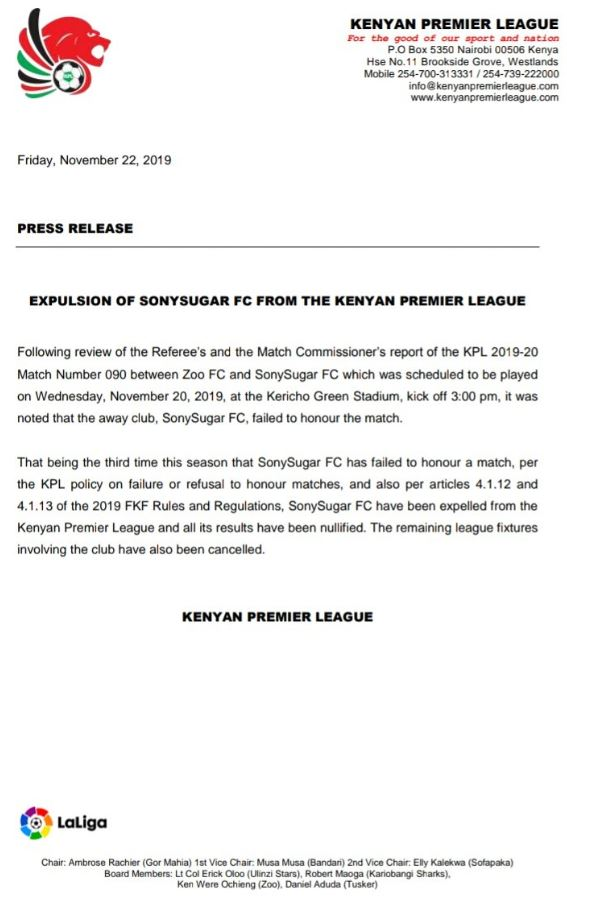 Sony Sugar FC have been expelled from the Kenya Premier League