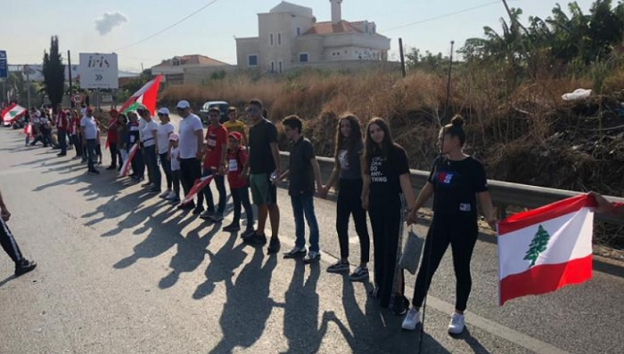 Protesters formed a human chain across entire Lebanon