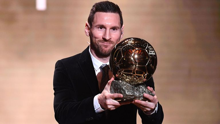 Barcelona forward Lionel Messi wins Ballon d'Or for the sixth time
