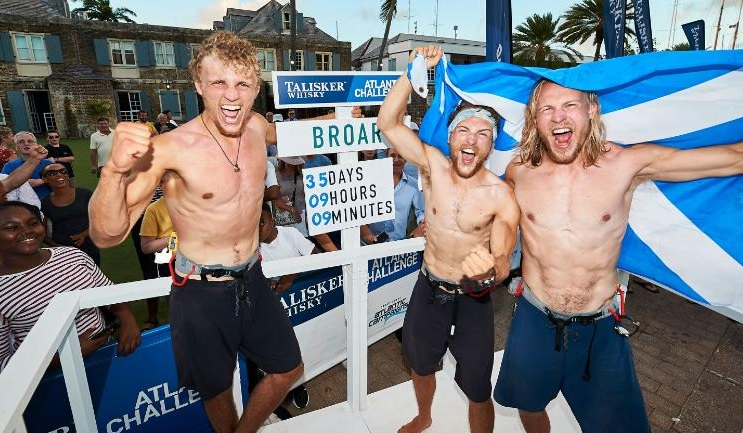 Three Scottish brothers break the world record by rowing across the Atlantic Ocean in 35 days