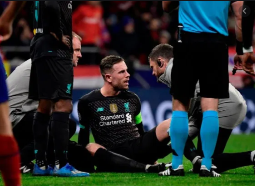 Liverpool midfielder Jordan Henderson to be sidelined for three weeks due to a hamstring injury