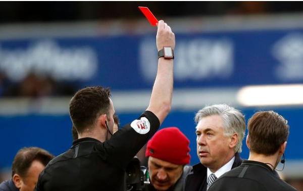 Carlo Ancelotti becomes the first Premier League manager to be shown a red card since it was introduced.