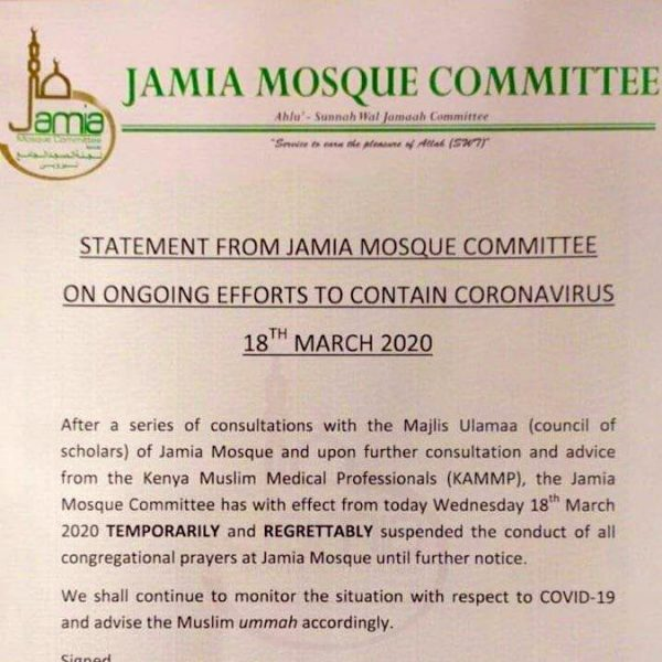 Statement from Jamia Mosque Committee on Coronavirus