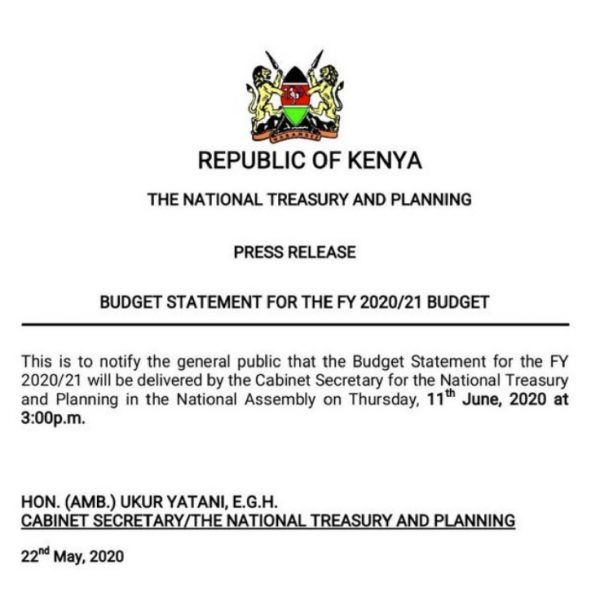 Kenya Budget statement to be read 11th June
