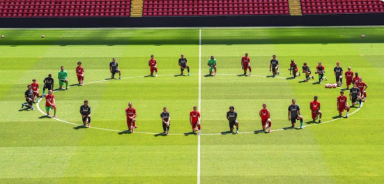 Liverpool players take a knee in solidarity with Black Lives Matter campaign